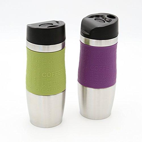 Thermobecher 2-er Set grün und violett 400 ml Edelstahl