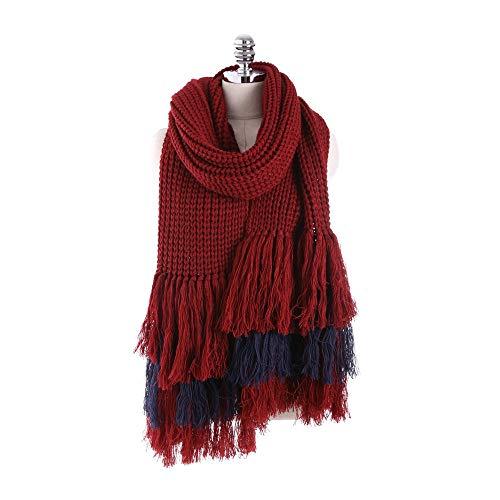 Nvshiyk Chal Pashmina Cálido de Punto de otoño e Invierno Mujer Espesa Gruesa Joven Aire Acondicionado con Flecos Salvajes Aire Acondicionado Bufanda Suave cálido (Color : Wine Red, Size : 200x30cm)