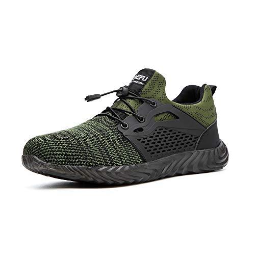 Zapatos de Seguridad Hombre Calzado de Industrial Mujer Puntera de Acero Zapatillas Deportivas de Trabajo Construcción Botas Tácticas Verde-3 EU44
