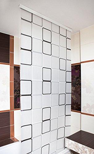 KS Handel 24 HALB-Kassetten DUSCHROLLO 4 Breiten 9 Designs ZUR Wahl DUSCHVORHANG Weiss GRAU GRÜN BLAU (160, Quadro)