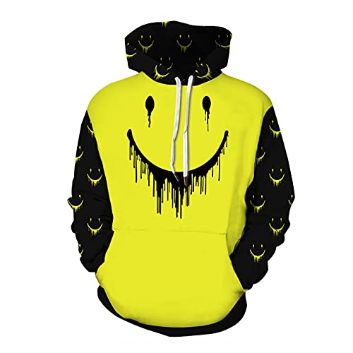 jinyi2016SHOP cómodo Halloween Hoodie Hombre Calabaza Cara Impresa Impresa Sudadera Sudadera Sudadera Tops Sudadera de Halloween (Color : Yellow, Size : XX-Large)