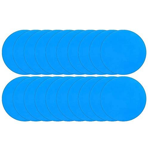 KU Syang Parches de ReparacióN de PVC Autoadhesivos de 20 Piezas, Parche de Vinilo para Revestimiento de Piscina, ReparacióN de Botes para Bote Inflable, Balsa, Kayak, Canoa, Redondo