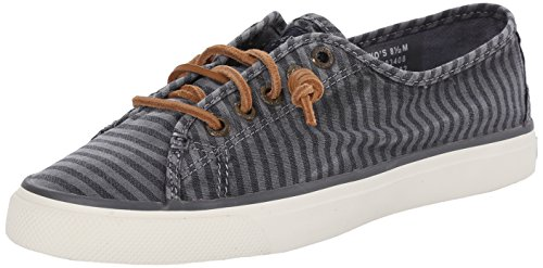 Sperry Women's Seacoast Striped Oxford, Charcoal, 7 M US