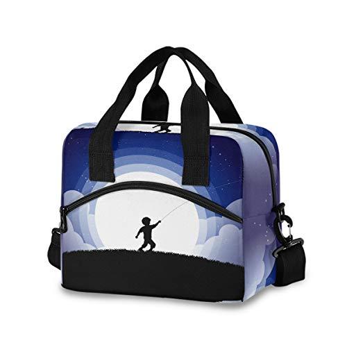 Bolsa de almuerzo de avión de papel para mujeres, hombres, bolsa de almuerzo aislada con correa de hombro desmontable y asa de transporte, bolsa reutilizable para el trabajo, escuela, picnic