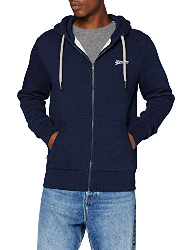 Superdry Mens OL Classic Zip Hood Sweater, Midnight Blue Grit, Medium