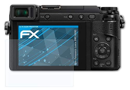atFoliX Schutzfolie kompatibel mit Panasonic Lumix DMC-GX80 Folie, ultraklare FX Bildschirmschutzfolie (3X)