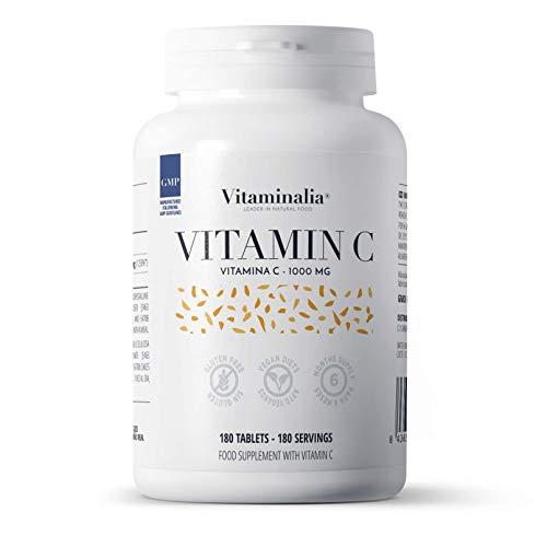 Vitamina C 1000mg de Vitaminalia | Dosis Alta de vitamina C Pura De Ácido Ascórbico sin Sabor para 6 Meses | Vitaminas para el cansancio | Vegano, Sin OGM, Sin Gluten, Sin Lactosa | 180 Tabletas