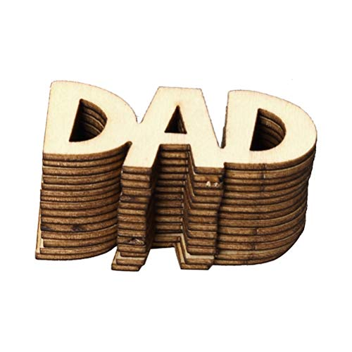 Amosfun Father's Day Wooden Pieces Decor DAD Wood Ornaments for Happy Father's Day Party Home Decoration 15 Pcs