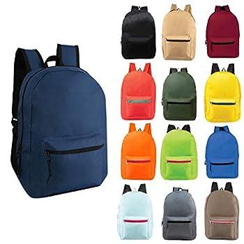 24 Pack - 17  Wholesale Backpacks in Randomly Assorted Colors - Case of Bulk Bookbags