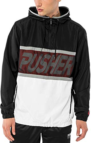 Pusher Apparel Herren Mesh Windbreaker, Black, M