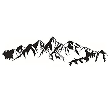 DNVEN (41 w x 11 h) Mountain Hill Silhouette Decorative Mural Decals Stickers Art Vinyl Wall Sticker Wallpaper for Living Room Bedrooms