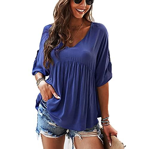 Camiseta de Mujer de Color sólido con Cuello en v Top de algodón Suelto de Verano Mujer
