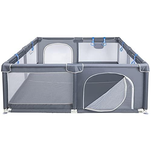 ONVAYA Parque infantil para bebés, 160 x 160 cm, rejilla de protección para niños, rectangular, barrera de seguridad, sin sustancias nocivas