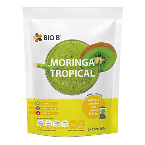 BIO B Smoothie: Proteína Vegetal Moringa Tropical (rinde 22 porciones) - Mezcla en polvo para preparar bebidas con proteína vegana 200g con Moringa y Jengibre - sin azúcar, sin lácteos, sin gluten, natural y vegano - Antioxidante, Sistema inmune.