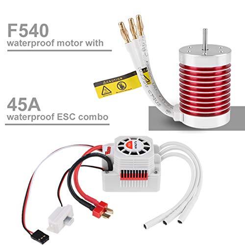 RCRunning 540 4370KV 3.175mm Shaft Brushless Motor 45A Waterproof Brushless ESC Combo for 1/10 RC Car (Banana Plug)