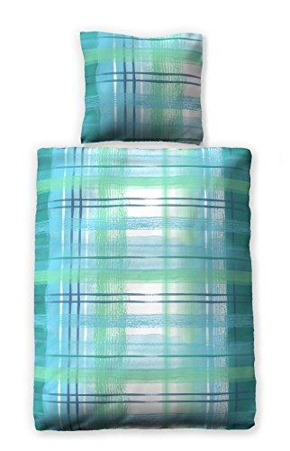 jilda-tex Seersucker-Bettwäsche 100% Bio-Baumwolle Sommerbettwäsche Watercolor 135x200 cm Ökotex-100 mit Reißverschluss (135 x 200 cm, Blau)