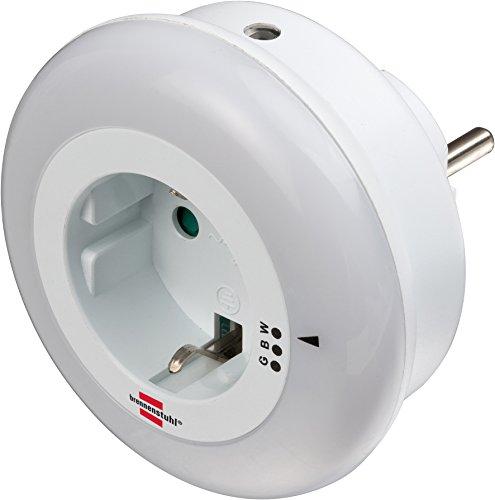 Brennenstuhl LED-Nachtlicht / sanftes Orientierungslicht mit Dämmungssensor für die Steckdose (inkl. Steckdose mit erhöhtem Berührungsschutz) weiß