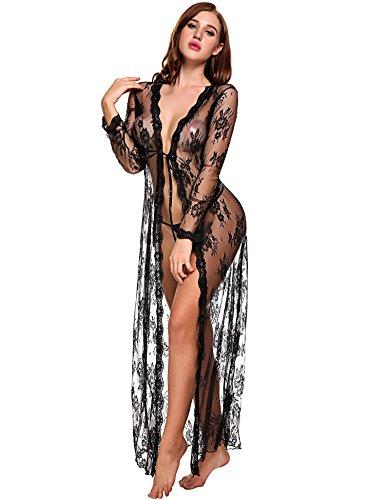 Lingerie para mulheres, sexy, vestido longo de renda, vestido transparente, robe quimono transparente transparente, Preto, Medium