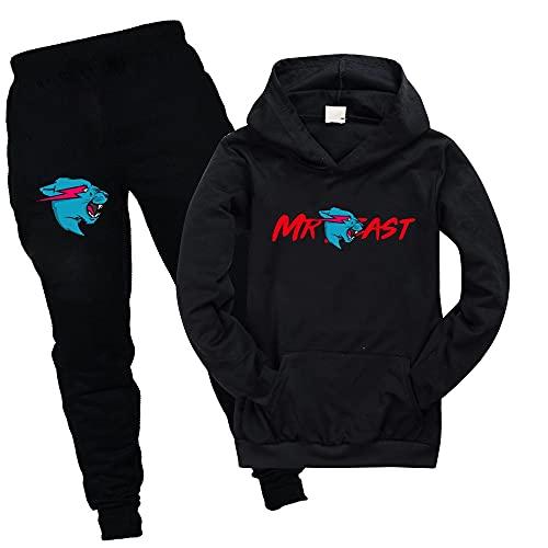 Mr Beast Merch - Sudadera con capucha y pantalones para niños, Negro, 12-13 años