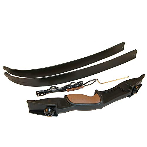 Huntingdoor 54 inch Archery Takedown Recurve Bow Left & Right Handed 25Lbs with Bowstring Finger Saver for Hunting Target Shooting(Black)