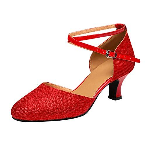 Damen Standard Latein Funkeln Tanzschuhe Frauen Ballsaal Salsa Tango Tanzen Schuhe Knöchelriemen Hochzeit Abendschuhe, Celucke Klassische Pumps Frühling Elegante Brautschuhe (Rot, EU39)