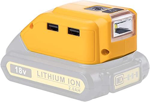 10,8V/20V Max 2 Port USB Stromquelle Ersetzen für Dewalt DCB090 DCB182 DCB184 DCB183 DCB185 DCB205 Konverter Ersetzen für Dewalt USB Ladegerät Adapter für Lithium Akku