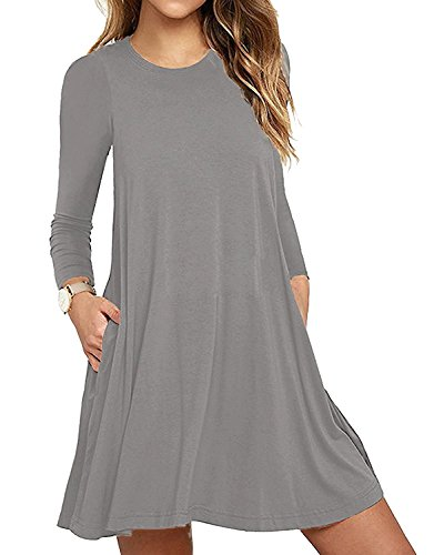 Aserlin Women's Long Sleeve Casual Loose T-shirt Dress with Pockets Gray-M