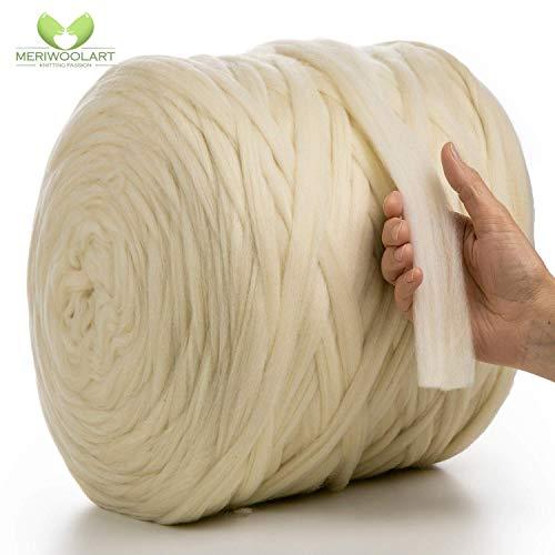 MeriWoolArt 100% merinowol voor breien en haken met 2 cm dik garen | dikke merinowol voor XXL sjaal, deken & kussens 100g natuurlijke kleuren