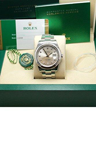 Fashion Shopping Rolex Datejust II 41mm Steel Silver Diamond Dial Men's Watch 116334