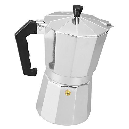 Gazechimp Metall Espressokocher | Mokkakanne | Mocca-Kocher | Kaffeekocher - Silber, 3 Tassen