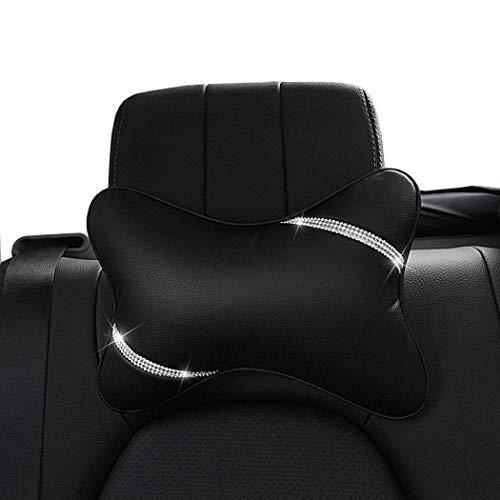 Eing - Almohada para reposacabezas de coche, 2 unidades, con diamantes brillantes brillantes, cojín de viaje para relajarse en la cabeza automática, color negro