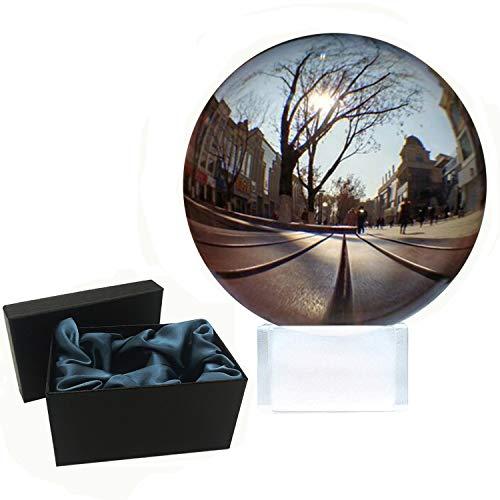 ApexOne Crystal Ball 80mm met Crystal Stand en Box, Clear Glass Sphere Lens Ball voor meditatie en genezing, K9 Crystal Ornamenten voor fotografie, Home Decorations, Party & Shows