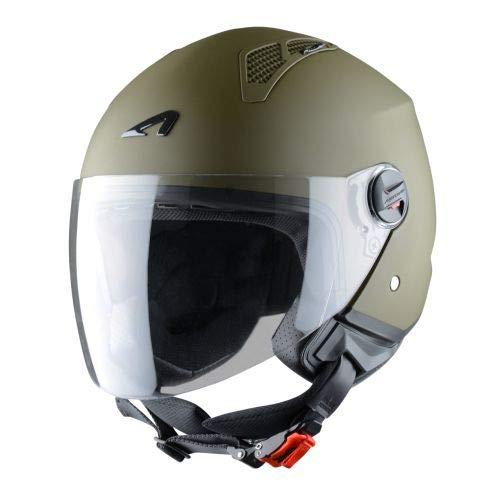 Astone Helmets - MINIJET monocolor- Casque jet - Casque jet urbain - Casque moto et scooter compact - Coque en polycarbonate - Army L