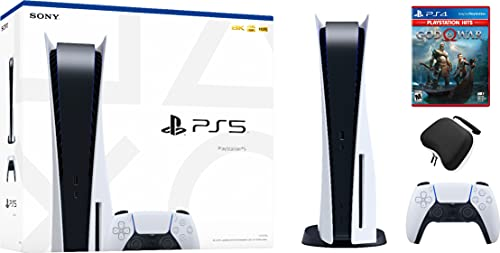 Ps5 disc gaming console bundle: new, sealed disc version ps5 console system – bonus: god of war game, and dikit ps5 controller case – system bundle, accessories, ps5 controller