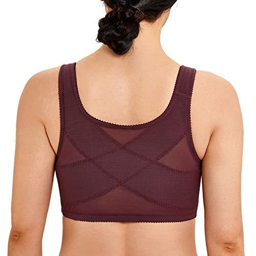 LAUDINE Women's Cotton Plus Size Front Closure Wireless Support Posture Bra Vermilion 52E