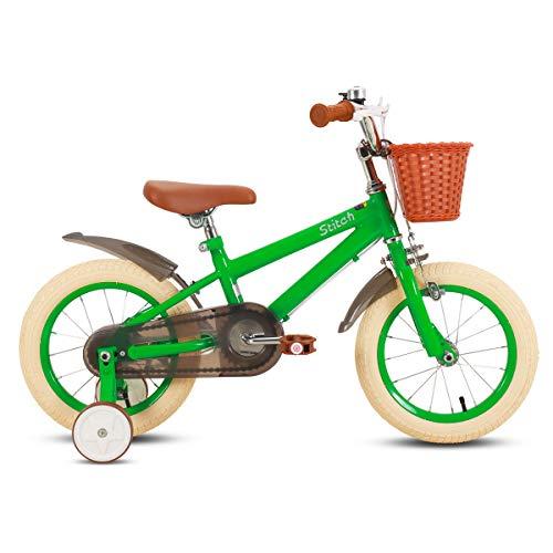STITCH 14 Zoll Kinderfahrrad für Mädchen & Jungen Alter 3-5 Jahre alt 14 Zoll Kinderfahrrad mit Stützrädern & Handbremsen grün
