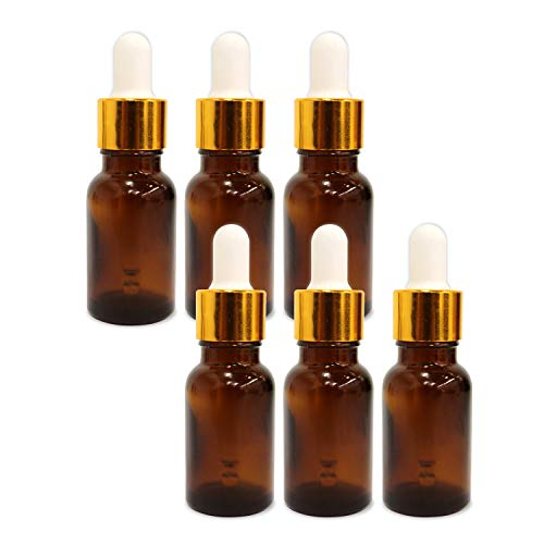 Shoprythm (6 Pack) 0.33 Oz Glass Amber Bottle with Golden Dropper & Funnel
