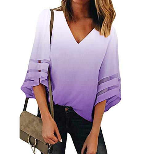 XUNN Women's Tops Fashion Sexy Leopard Mesh Panel Blouse with V-Neck 3/4 Bell Sleeve Casual Loose Top Shirt Women Top - Purple - Small