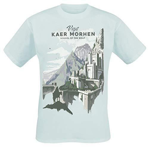 The Witcher Visit Kaer Morhen Männer T-Shirt hellblau M 100% Baumwolle Fan-Merch, Gaming, TV-Serien