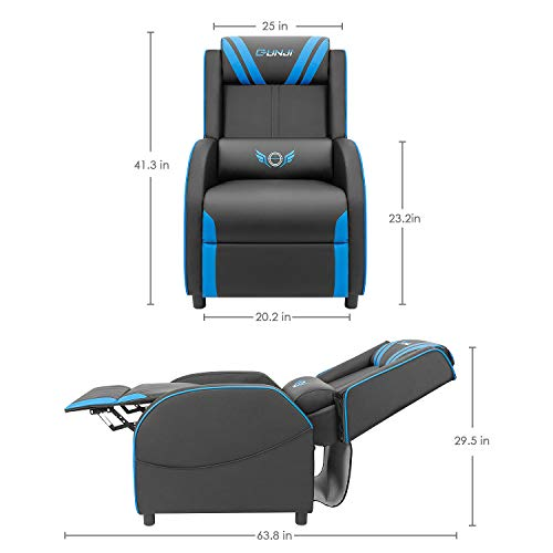 JUMMICO Gaming Recliner Chair PU Leather Single Recliner Sofa Adjustable Modern...