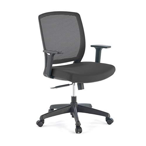 Ofiprix | Nicole Stuhl | Bürodrehstuhl | Schreibtischstuhl | Atmungsaktive Rückenlehne | verstellbare Armlehnen | synchronisierter Mechanismus | ergonomisch | Farbe Schwarz
