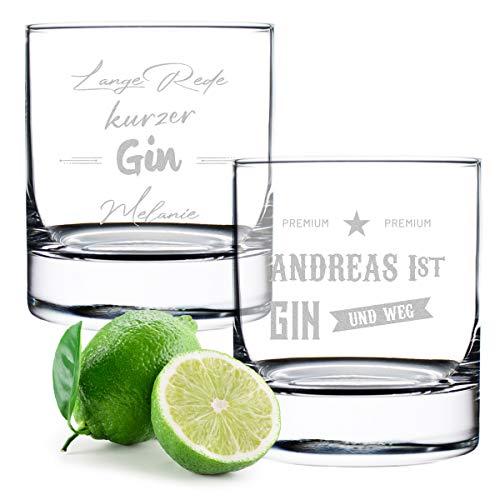 Gin Tonic Gläser 2X mit gravierte Sprüche - Cocktailglas - Genießen - personalisiert - 320 ml Volumen - Geschenk für Mann und Frau - Geburtstag, Weihnachten - Spruch 3 und 4