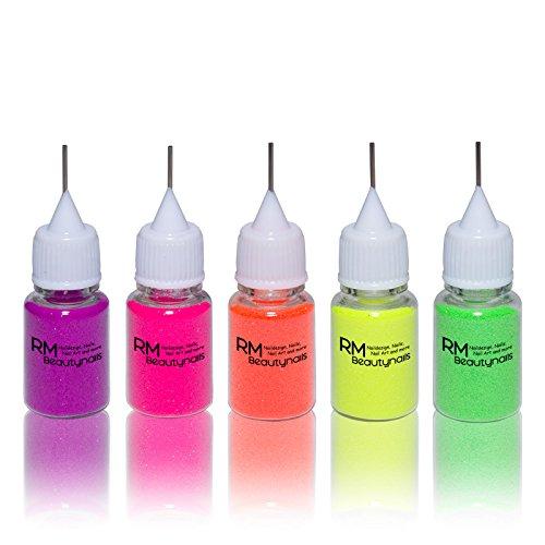 Neon Glitter Glitzer Puder Staub Set in praktischer Dosierflasche 5x8ml Pink Gelb Orange Lila Grün...