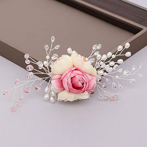 Wedding Hair Accessories Tiara Flower Bridal Hair Comb Headpiece Pearl Wedding Hair Combs Bridal Hair Ornaments Pink