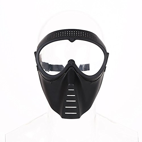 MingXiao Máscara Protectora de Seguridad para Toda la Cara Airsoft Paintball Game Tactical Full Face Black Clear Lens Mask