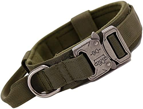 AXINOUDA Collare Tattico per Cani Regolabile con Maniglia di Comando, Collare Militare in Nylon con Fibbia in Metallo per Cani di Taglia Media e Grande (Verde Militare, M:38-47cm)