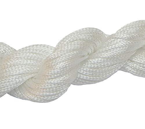 Perlin 30 Meter Makramee Garn 1mm Schnur, Schmuckschnur, Schmuckfaden für DIY Handwerk Machen Farbauswahl (Weiss)