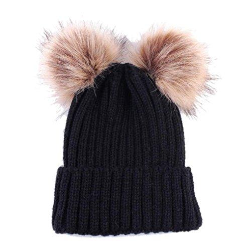 0-36 Mois Bebe Fille / Garcon Hiver Bonnet Tricoté Chaud Laine Beanie … (Noir)