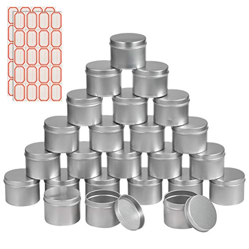 FOCCTS 24Pack Candle Tins Round Containers, 3.7 oz, Metal Aluminum Tin with Slip-On Lids and Stickers, Cream Cosmetic Container Candle Jars for Candle Making, Party Favors, Spices, Gifts