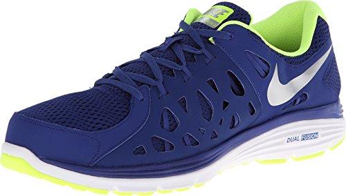Nike Men's Dual Fusion Run 2 Running Shoe (6 D(M) US, Deep Royal Blue/Volt/White/Metallic Silver)